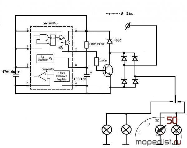 схема реле поворотов на иж