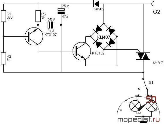 Провод идет от клеммы О2 БКС, затем - реле (ВАЗовское реле подключаем по схеме - 1 провод.