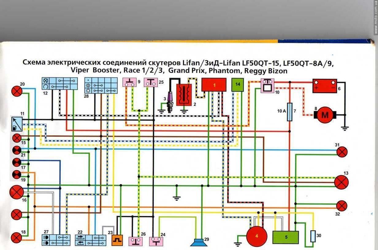 подробная электросхема мото 110 куб орион